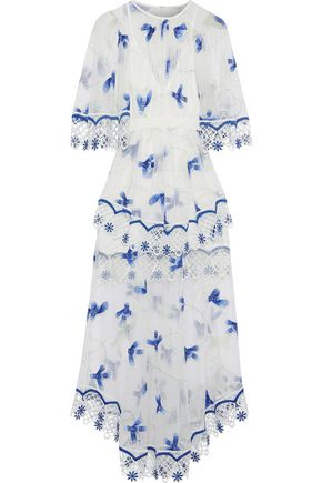 ALICE McCALL Marigold macramé-trimmed embroidered tulle midi dress
