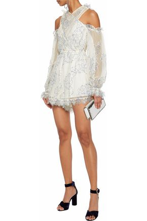 ALICE McCALL That's A Wrap cold-shoulder lace playsuit