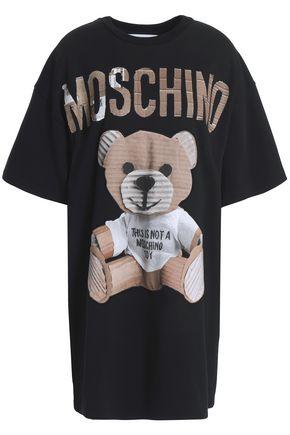 MOSCHINO Appliquéd printed cotton-blend jersey mini dress