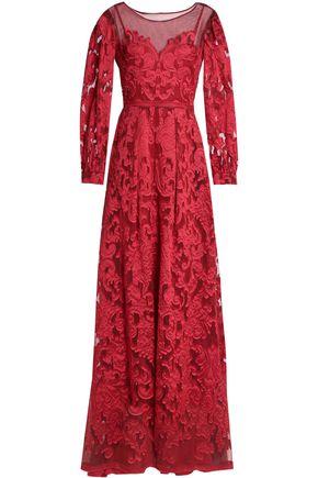 ALBERTA FERRETTI Mesh-paneled crepe fil coupé gown