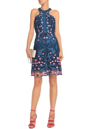 MARCHESA NOTTE Floral-appliquéd guipure lace dress