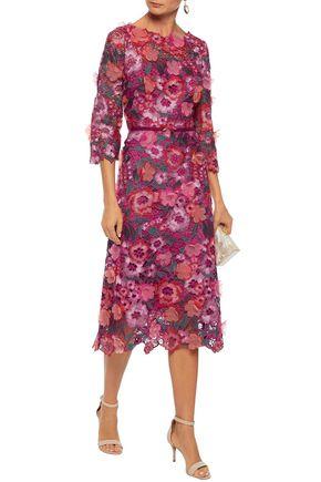 615cf7d4c3444 ... MARCHESA NOTTE Appliquéd metallic guipure lace midi dress ...