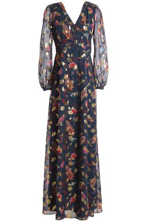 RACHEL ZOE Metallic printed fil coupé silk-blend chiffon maxi dress