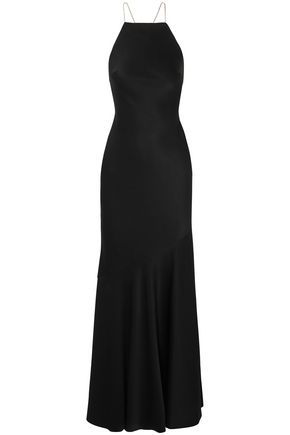 RACHEL ZOE Open-back crystal-embellished satin gown