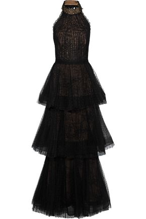 MARCHESA NOTTE Tiered pleated lace halterneck gown