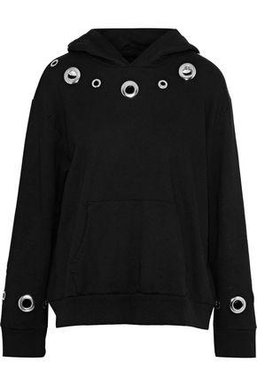 MONROW Eyelet-embellished cotton-fleece hoodie