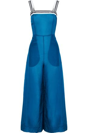 DIANE VON FURSTENBERG Grosgrain-trimmed cotton and silk-blend organza jumpsuit