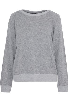 MONROW Lace-up mélange French terry sweatshirt