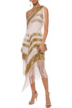 ALICE McCALL For Her one-shoulder macramé-trimmed tinsel and georgette dress