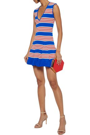 ALICE McCALL Frenchie striped metallic ribbed-knit mini dress