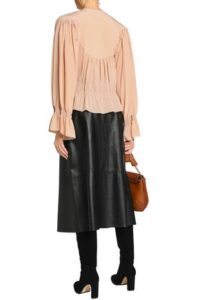 CHLOÉ Pussy-bow shirred silk crepe de chine blouse