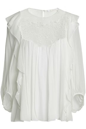 CHLOÉ Lace-paneled silk-gauze top
