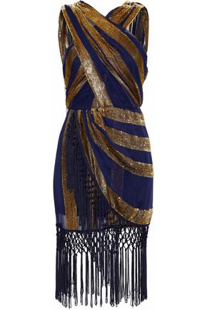 ALICE McCALL Surrealist macramé-trimmed tinsel and georgette mini dress