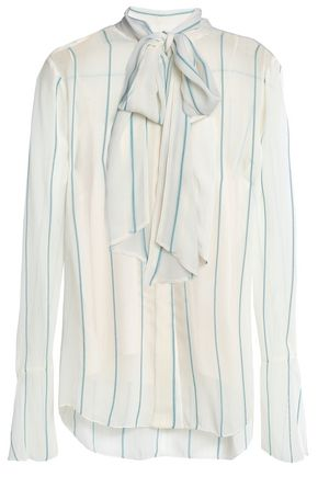 CHLOÉ Pussy-bow striped silk-blend georgette blouse