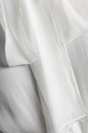 CHLOÉ Pussy-bow ruffled silk-georgette top