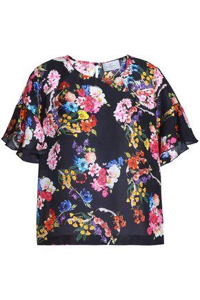 PREEN by THORNTON BREGAZZI Ruffle-trimmed floral-print silk-jacquard top