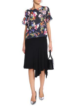 PREEN by THORNTON BREGAZZI Ruffle-trimmed floral-print silk-jacquard top 61341b1007ce8