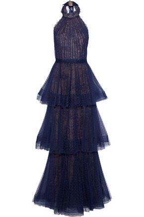 MARCHESA NOTTE Tiered point d'esprit-lace halterneck gown