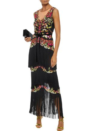 MARCHESA NOTTE Fringed embellished tulle gown