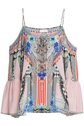 a14605242 CAMILLA Cold-shoulder crystal-embellished printed silk crepe de chine top