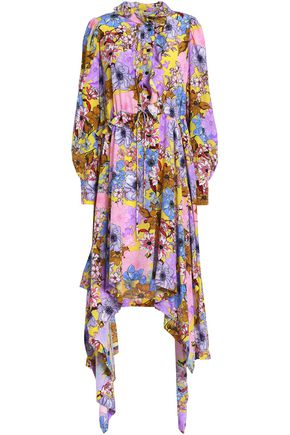 PREEN by THORNTON BREGAZZI Draped silk crepe de chine shirt dress