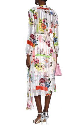 PREEN by THORNTON BREGAZZI Floral-print silk-satin and chiffon midi wrap dress