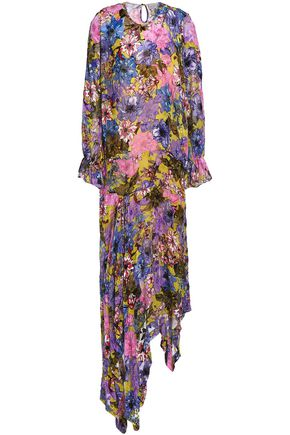 PREEN by THORNTON BREGAZZI Floral-print devoré-chiffon midi dress