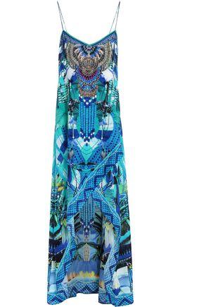 CAMILLA | Camilla Amazon Azure Crystal-Embellished Printed Silk Maxi Dress | Goxip