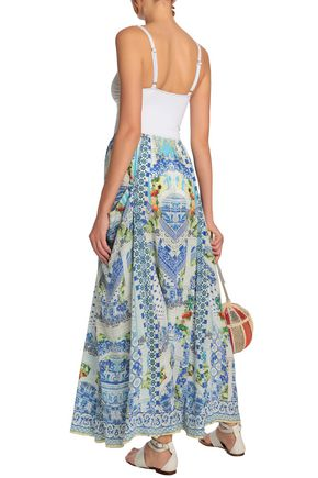 CAMILLA A Night To Remember crystal-embellished printed silk maxi skirt