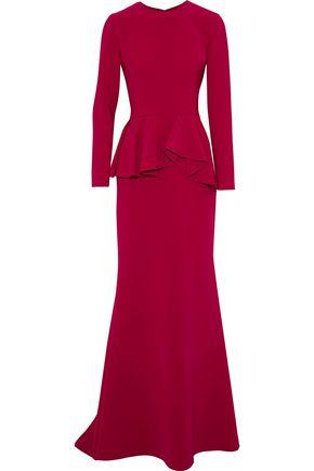 REEM ACRA Fluted cady peplum gown