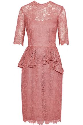 REEM ACRA Cotton-blend lace peplum dress