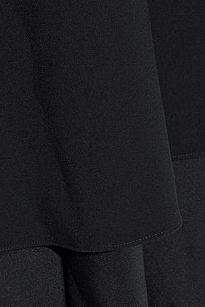 REEM ACRA Linen-crepe halterneck gown