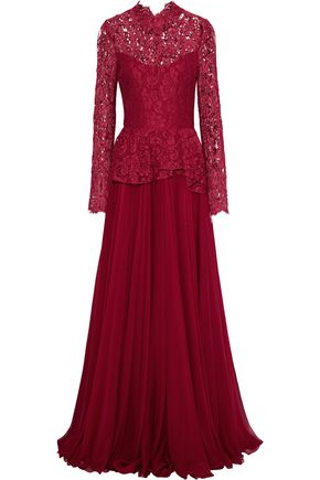 REEM ACRA Cotton-blend corded lace-paneled chiffon peplum gown