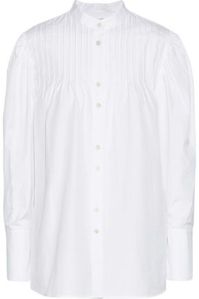 DIANE VON FURSTENBERG Pintucked cotton-poplin shirt