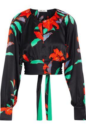 DIANE VON FURSTENBERG Tie-back cropped floral-print silk-satin blouse