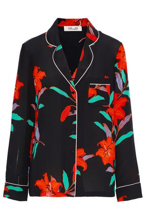 DIANE VON FURSTENBERG Floral-print silk crepe de chine pajama shirt