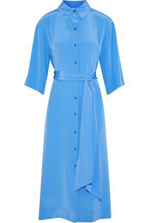 DIANE VON FURSTENBERG Belted silk-charmeuse midi shirt dress