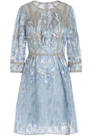 MARCHESA NOTTE Flared metallic embroidered tulle mini dress