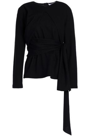 CHALAYAN Wrap-effect draped wool top