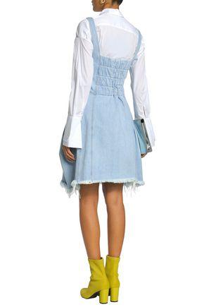 MARQUES' ALMEIDA Frayed shirred denim mini dress