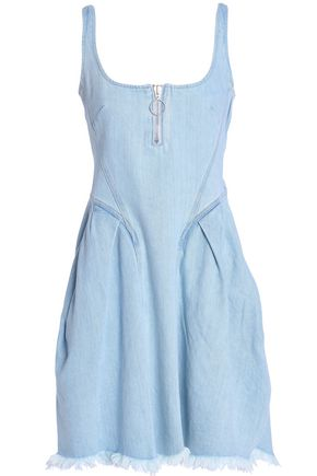 MARQUES' ALMEIDA Frayed shirred denim mini dress