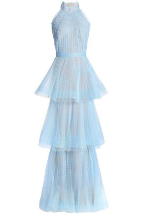 MARCHESA NOTTE Tiered point d'esprit-lace halterneck gown