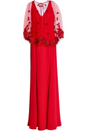 MARCHESA NOTTE Layered embellished tulle and jersey gown