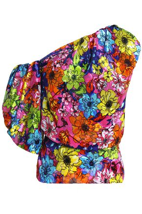 PREEN by THORNTON BREGAZZI One-shoulder floral-print devoré-velvet top
