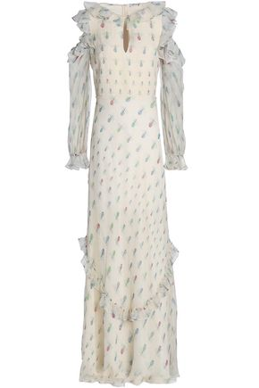 VILSHENKO Cold-shoulder ruffle-trimmed printed silk-georgette maxi dress