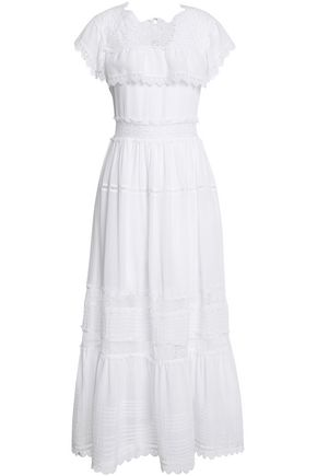 VILSHENKO Crochet-trimmed cotton-gauze midi dress
