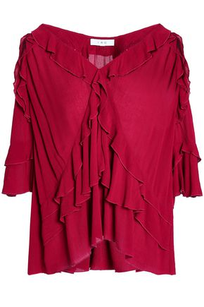 IRO Cutout ruffled georgette blouse