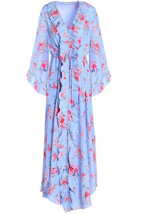 VILSHENKO Ruffle-trimmed silk crepe de chine midi dress