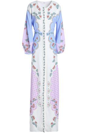 VILSHENKO Fluted printed crepe maxi dress