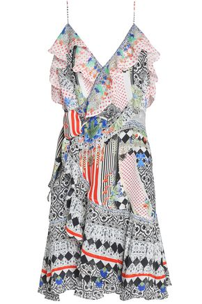 CAMILLA Close To My Heart embellished printed silk crepe de chine wrap dress